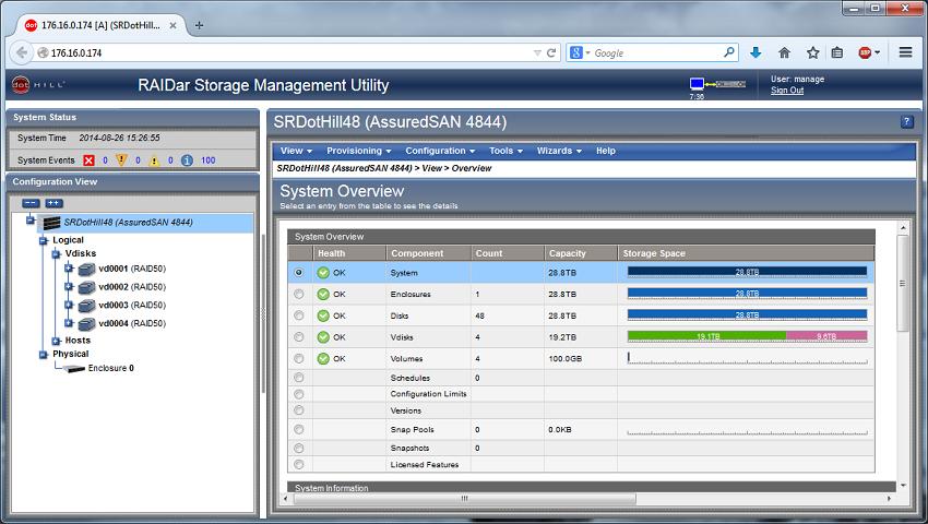 Dot Hill AssuredSAN Ultra48 Management Overview Screenshot