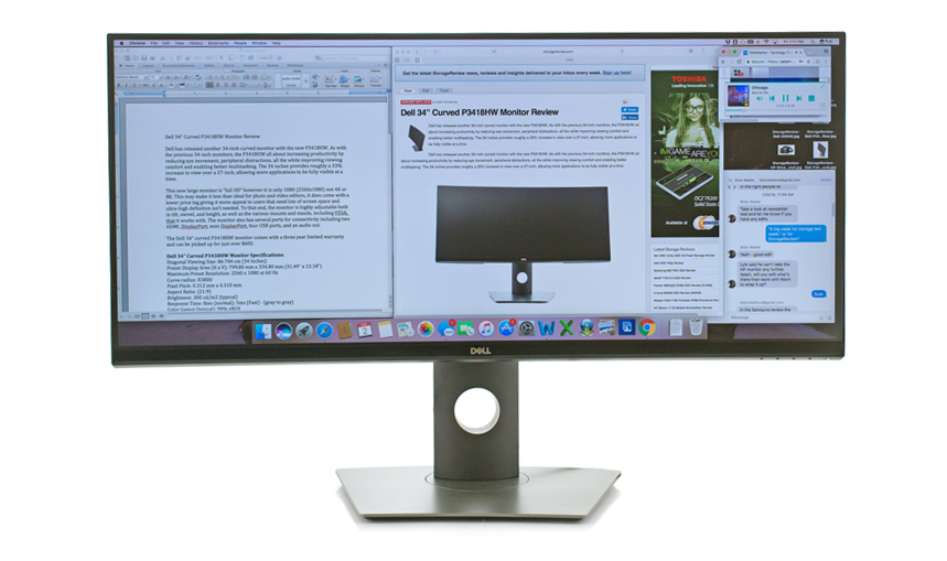 Dell 34 Curved Monitor Review P3418hw Storagereview Com