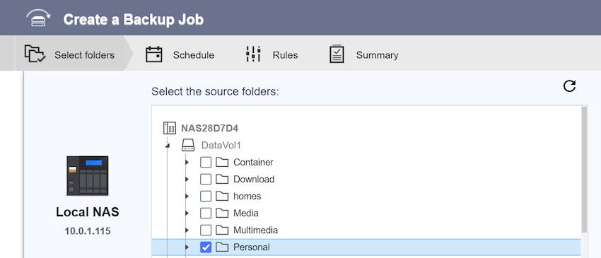QNAP HBS 3 create backup job