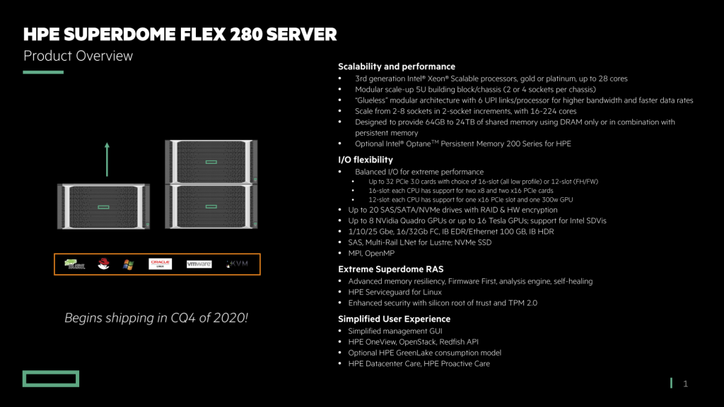 HPE Superdome Flex 280 Server Summary
