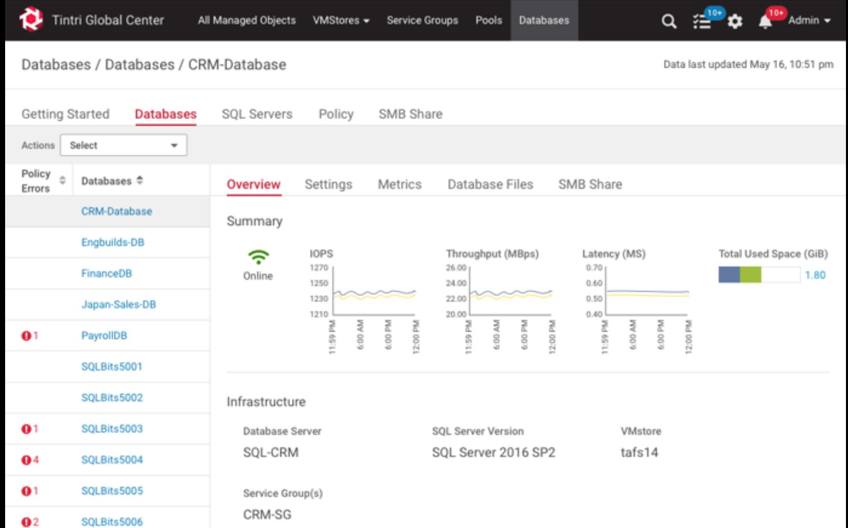 Tintri SQL Integrated Storage