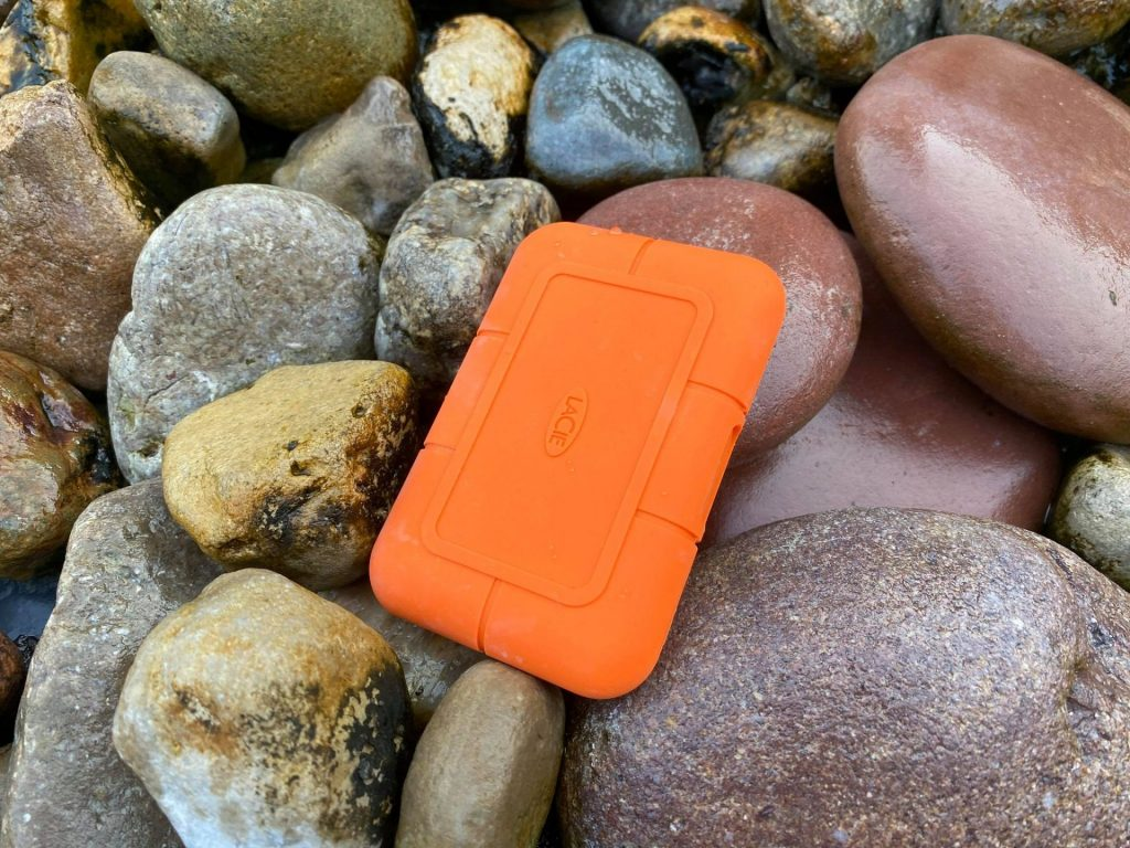LaCie RUGGED SSD rock background