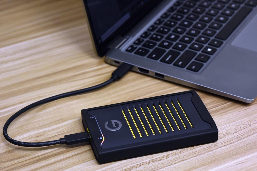G-Tech ArmorLock plugged in