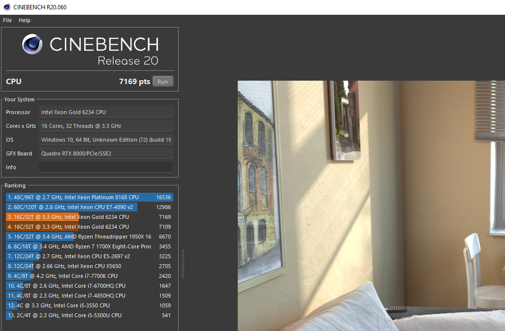 Lenovo ThinkStation P920 cinebench