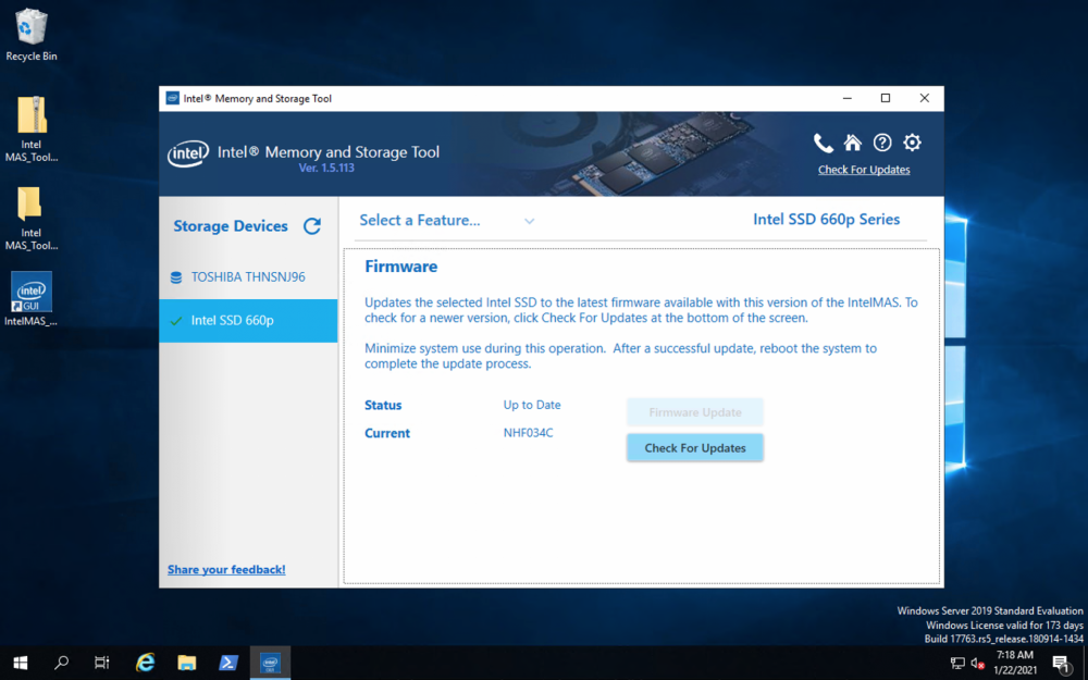 Intel Memory and Storage Tool firmware