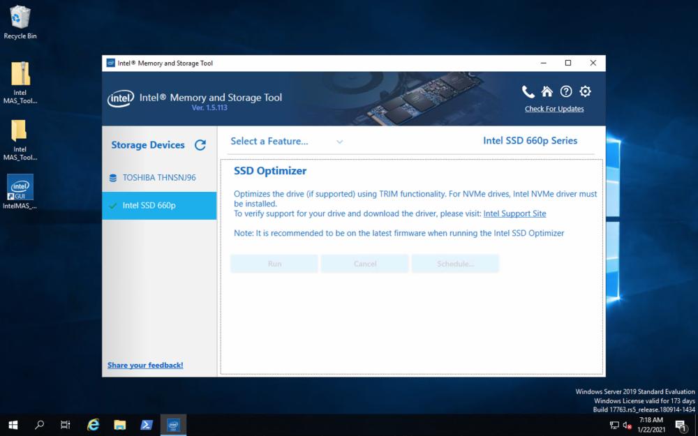 Intel Memory and Storage Tool optimizer
