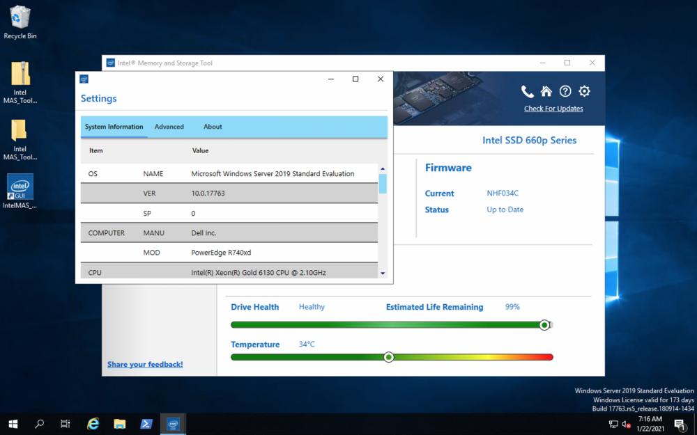 Intel Memory and Storage Tool settings