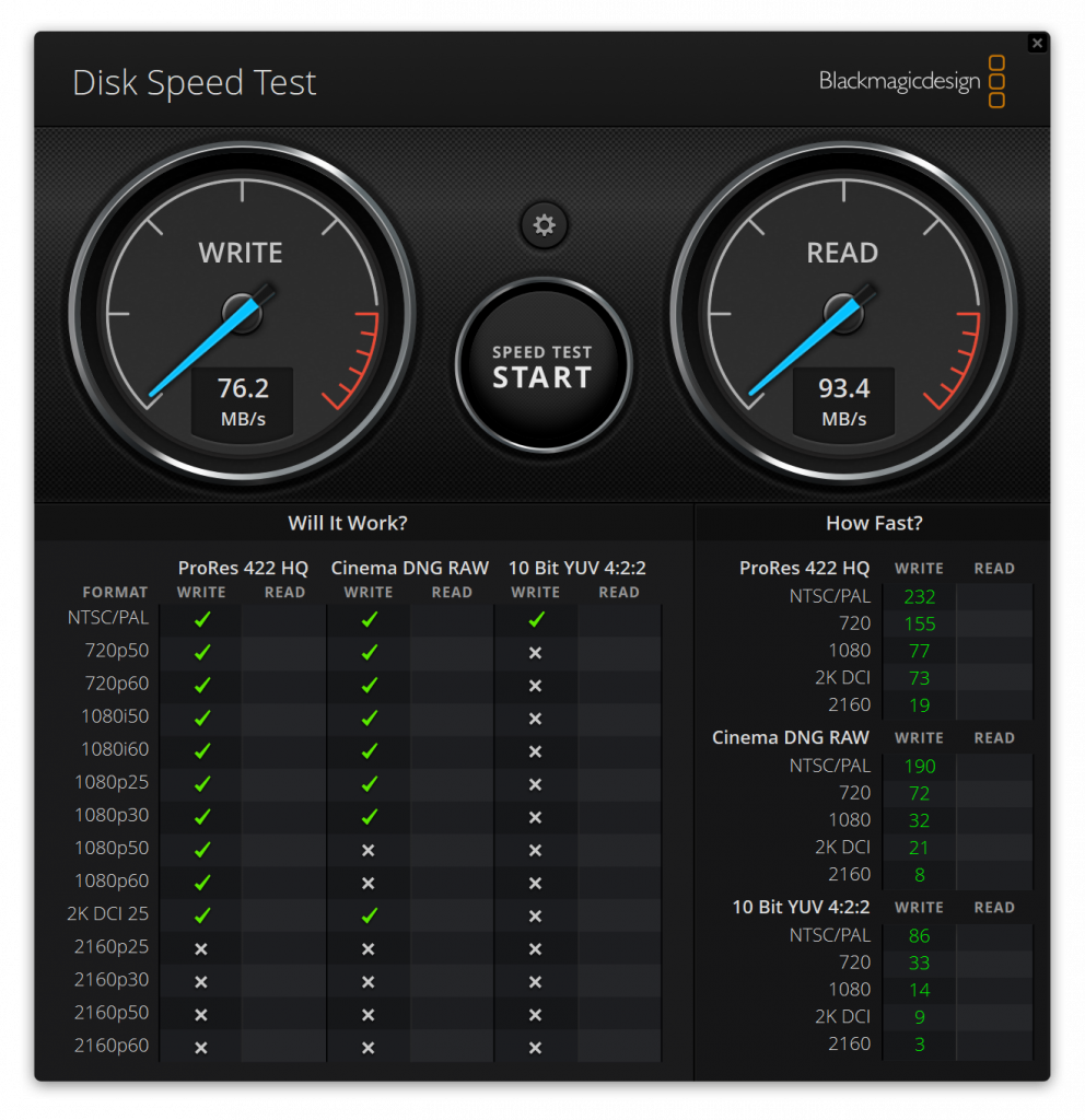 Samsung Pro Plus 128GB Blackmagic performance Kingston Workstation Dock