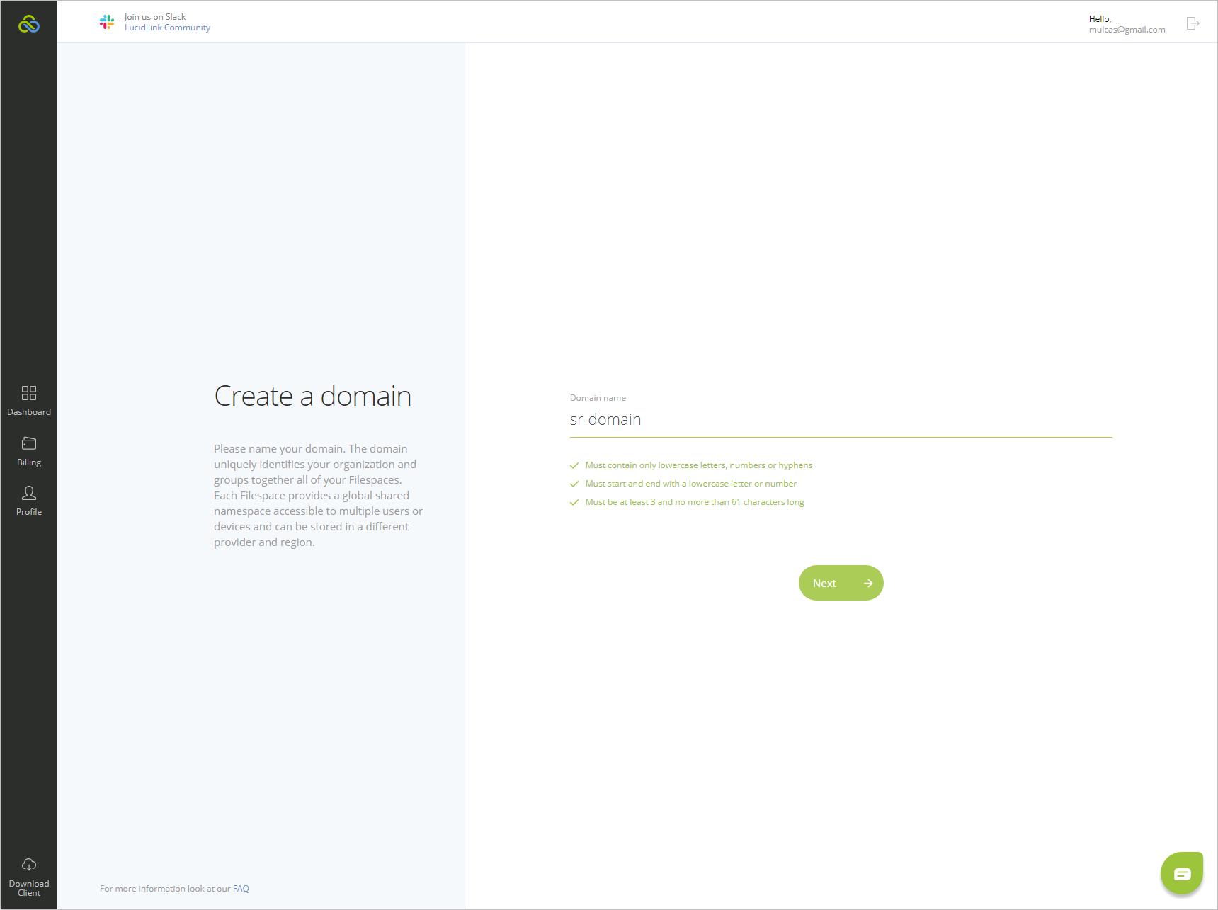 LucidLink Filespaces Cloud NAS step 1