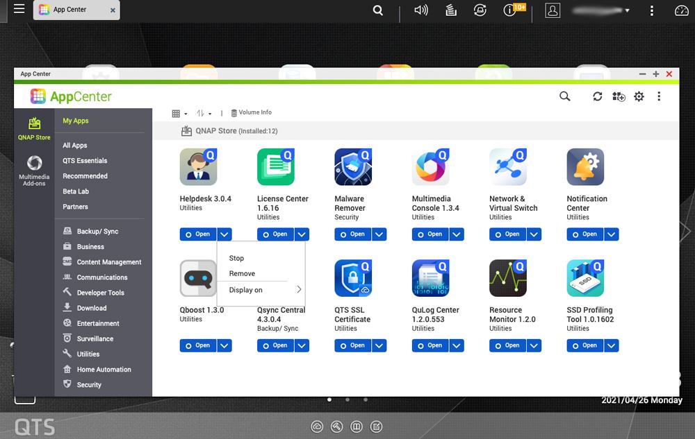 qnap remove apps