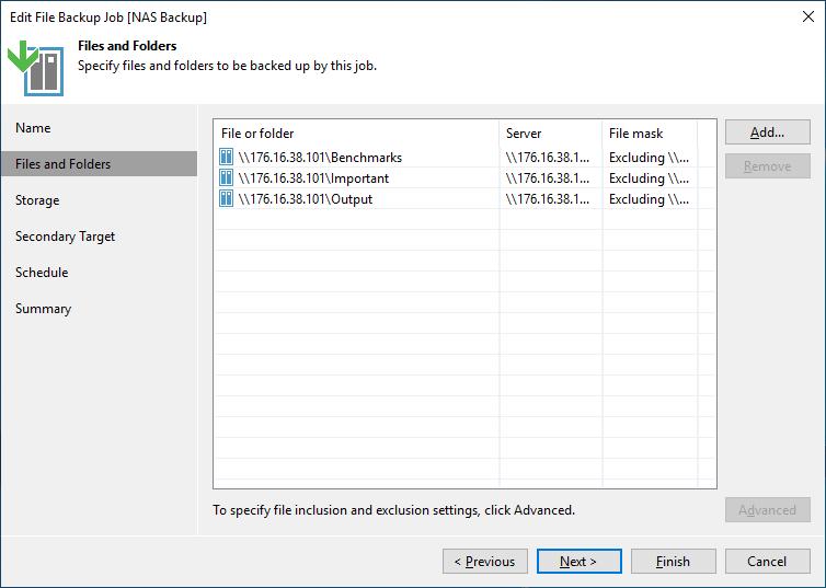 Veeam NAS Backup and Recovery edit backup job