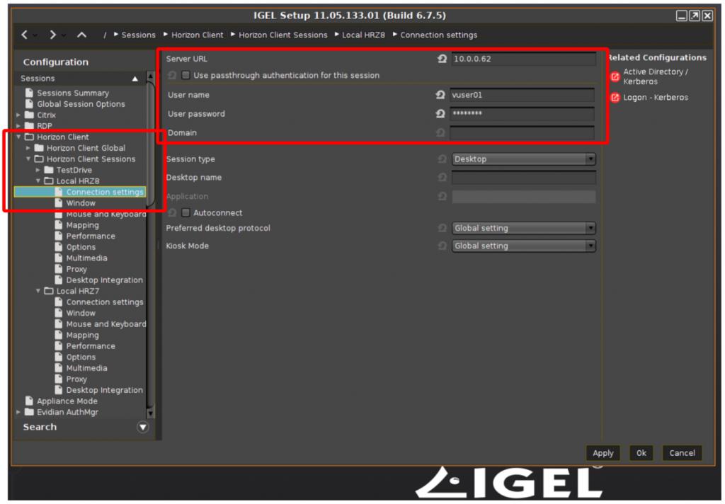 LG 34CN650N IGEL connection settings
