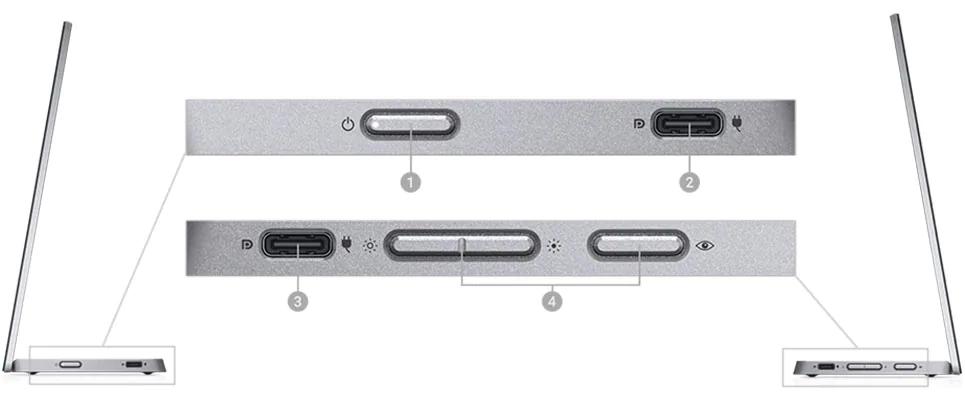Dell 14 Portable Monitor (C1422H) ports