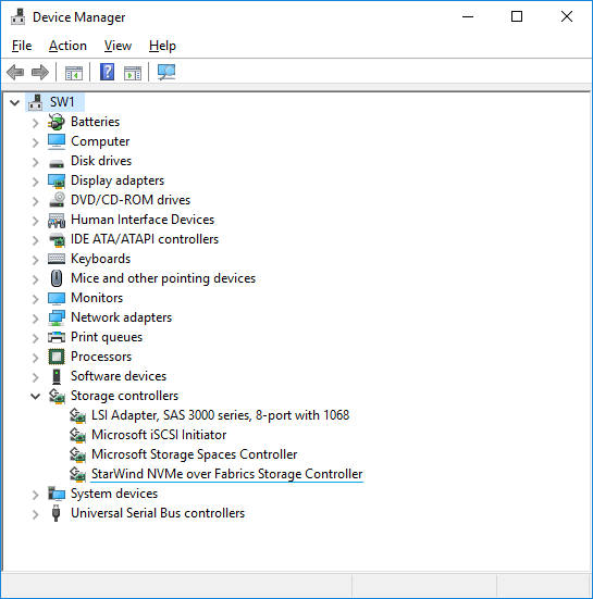 starwind NVMe-oF initiator for Windows in the device manager